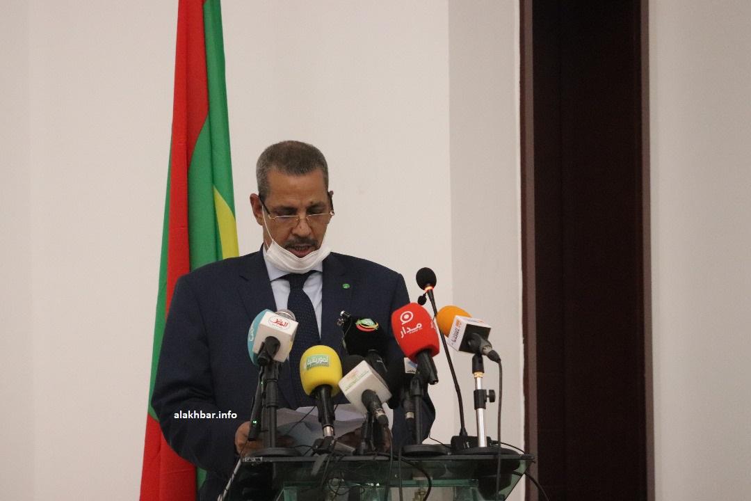وزير التنمية الحيوانية لمرابط ولد بناهي خلال خطابه اليوم بمناسبة توقيع الاتفاقيات (الأخبار)