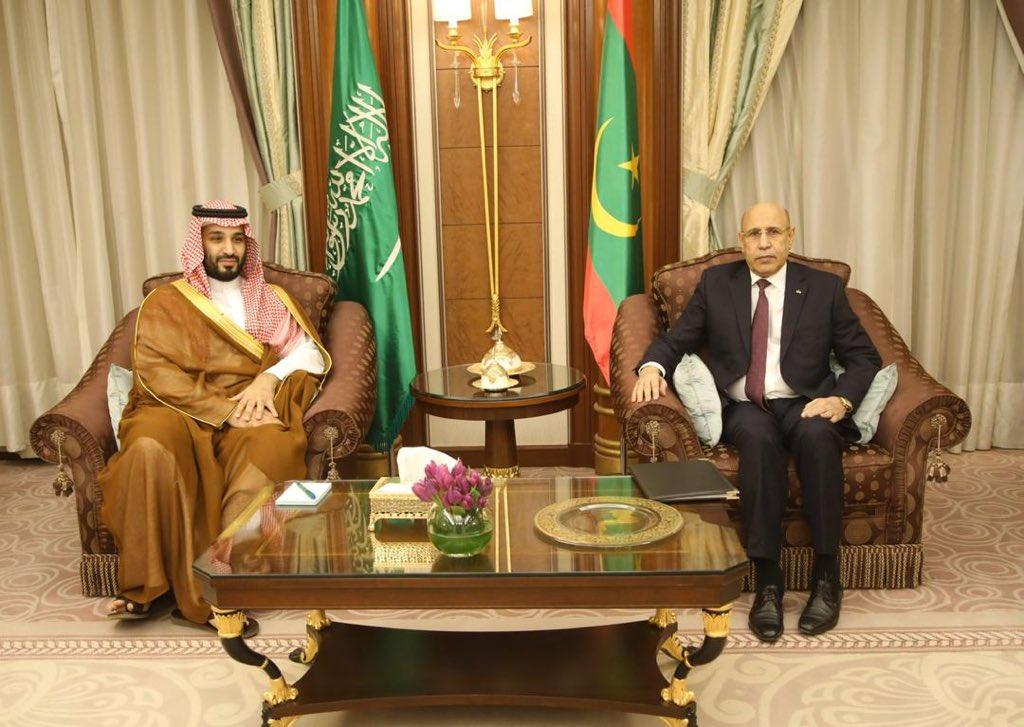 الرئيس الموريتاني محمد ولد الغزواني وولد العهد السعودي من بن سلمان خلال لقائهما اليوم في مقر إقامة الأول