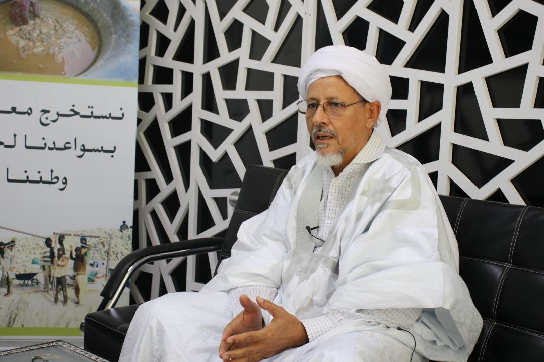 """العلامة محمد المختار ولد امباله خلال محاضرته اليوم في مقر شركة """"معادن موريتانيا"""""""