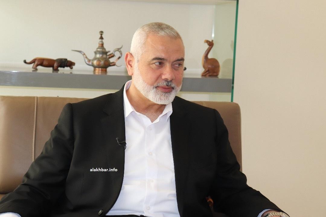 رئيس المكتب السياسي لحركة حماس إسماعيل هنية خلال حديثه للأخبار اليوم