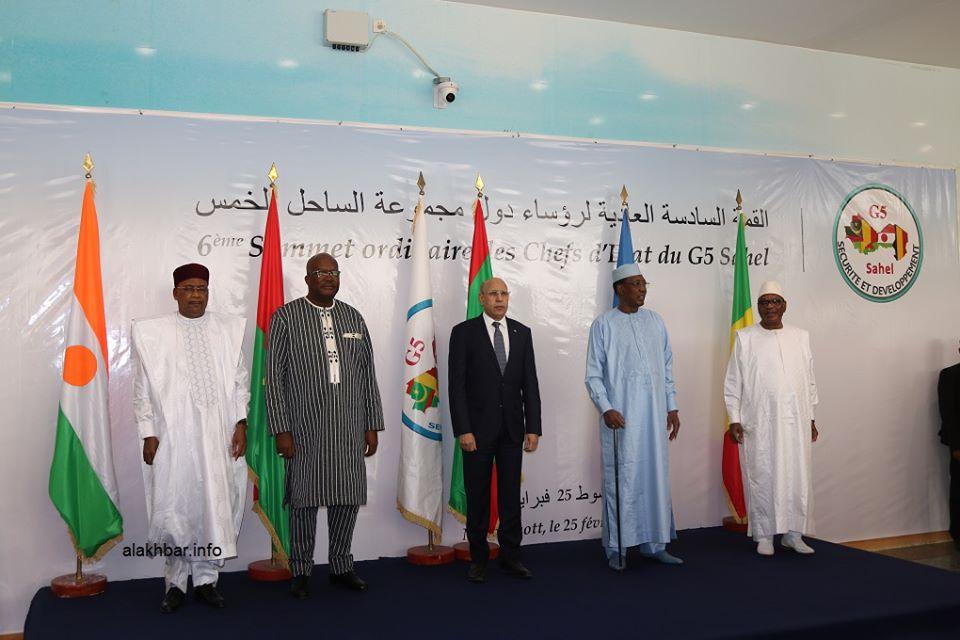 قادة المجموعة خلال صورة جماعية قبيل بدء القمة الثلاثاء بنواكشوط (الأخبار)
