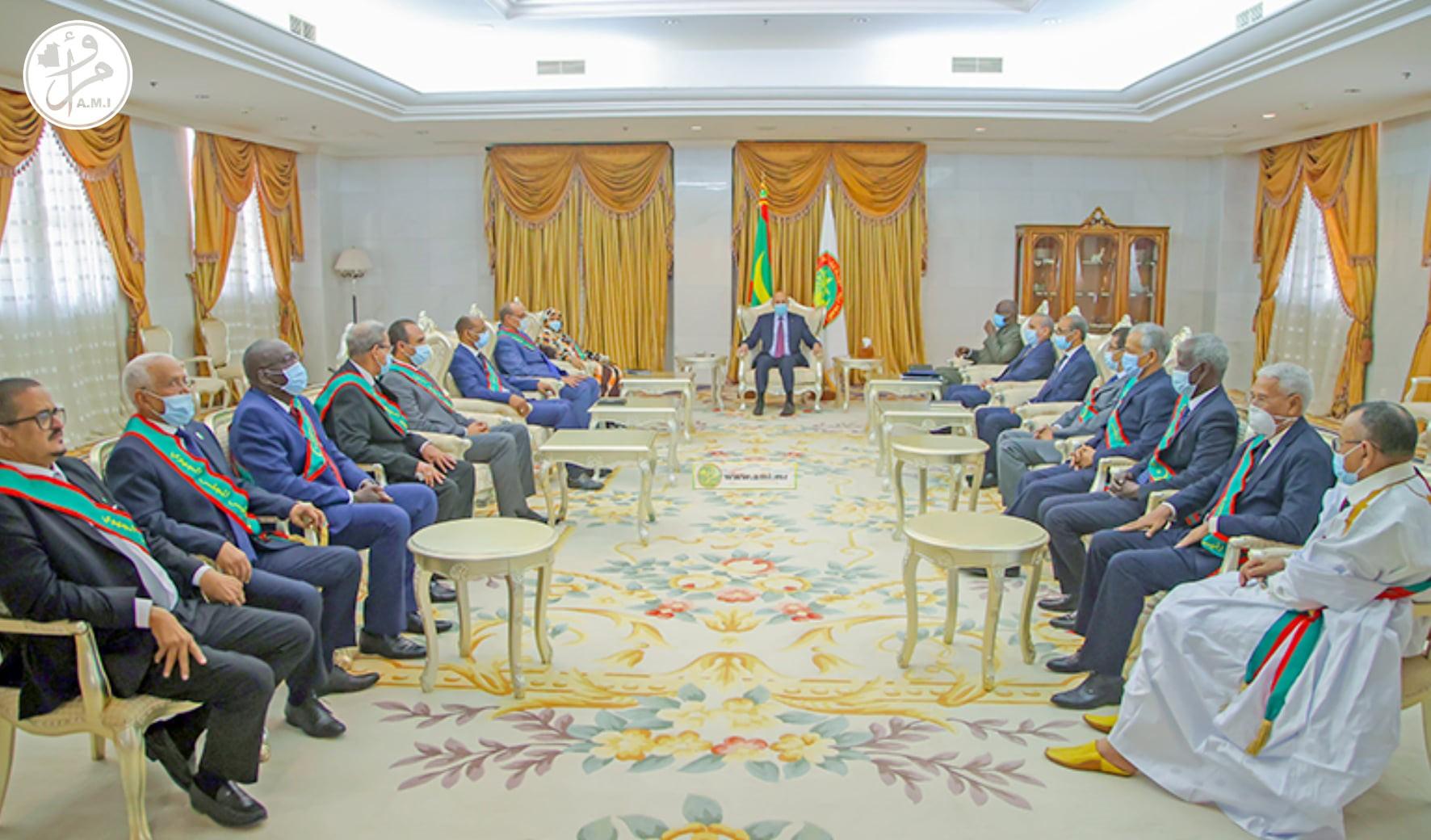 الرئيس محمد ولد الغزواني خلال اجتماعه اليوم مع رؤساء المجالس الجهوية (وما)