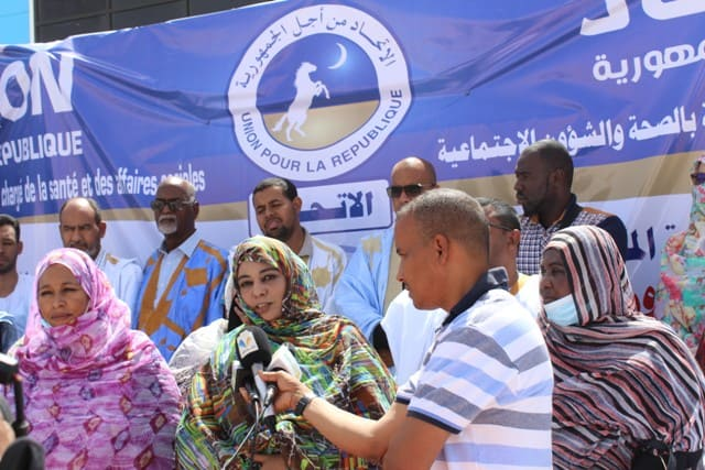 الأمينة التنفيذية المكلفة بالصحة والشؤون الاجتماعية أم الخيري بنت المصطفى خلال إطلاق الحملة