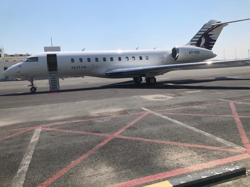 الطائرة القطرية الخاصة التي أقلت ولد الإمام الشافعي من الدوحة باتجاه نواكشوط