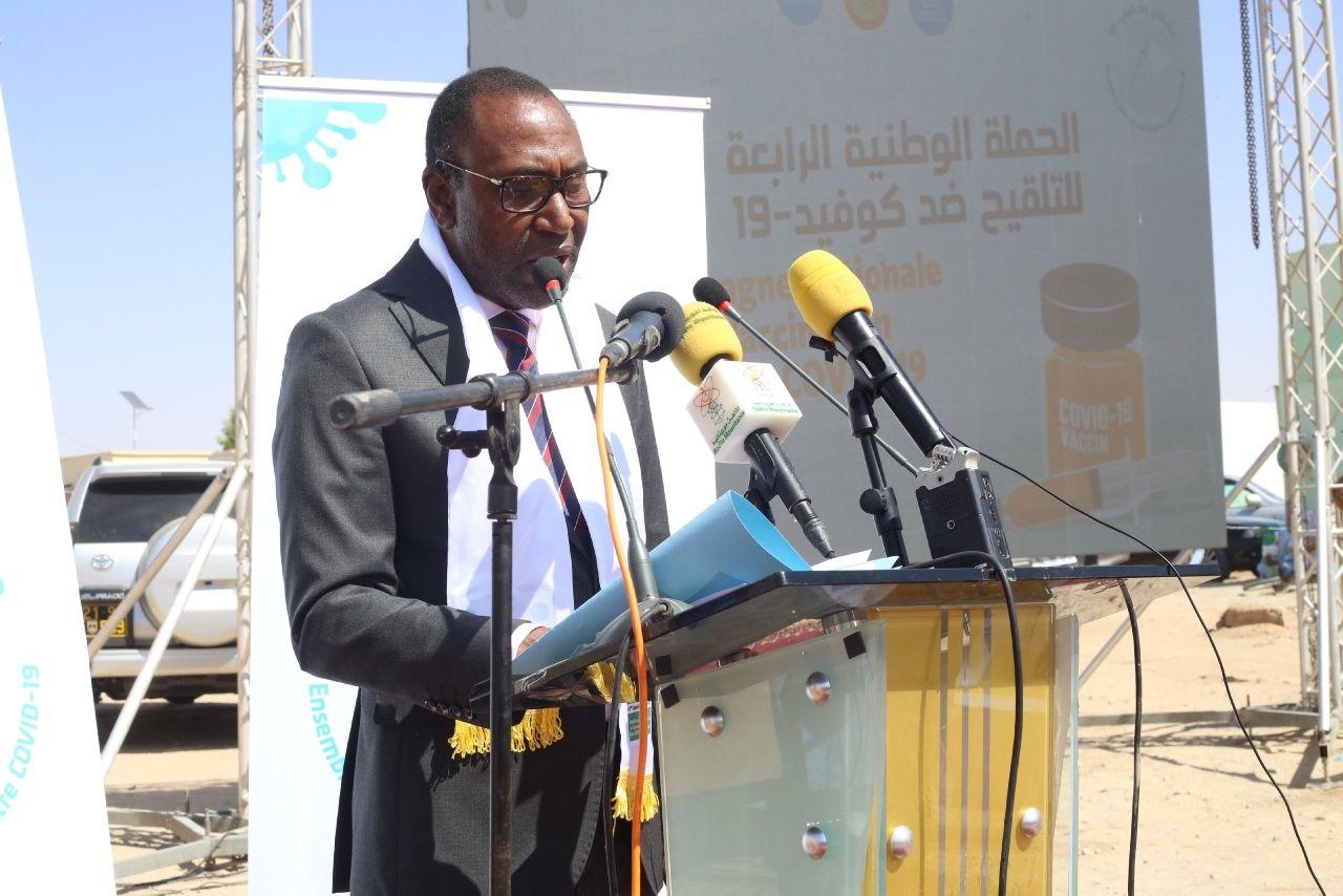 وزير الصحة الدكتور سيدي ولد الزحاف خلال إعلان انطلاقة الحملة اليوم