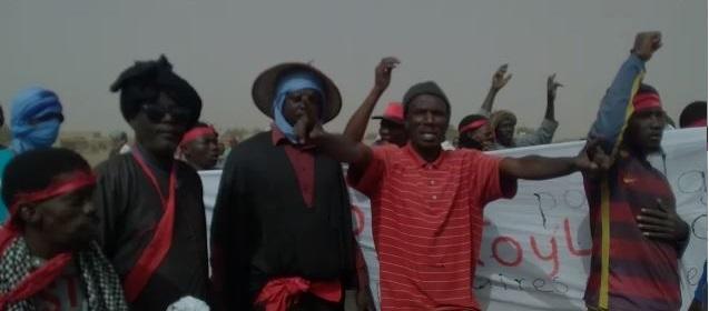 جانب من الاحتجاجات اليوم في قرية افير الل التابعة لمقاطعة امبان