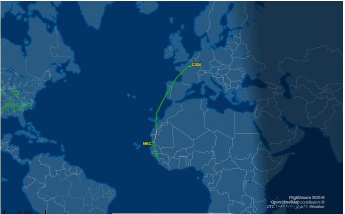 مسار رحلة الفرنسية من باريس إلى كوناكري مرورا بأجواء نواكشوط