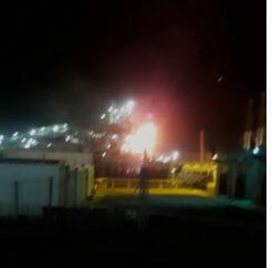 صورة من مقطع فيديو تم تداوله عن الحريق