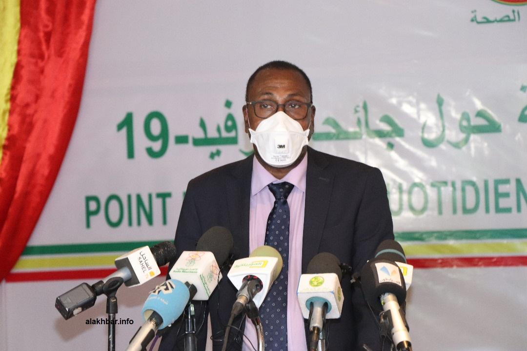 وزير الصحة الدكتور سيدي ولد الزحاف خلال مؤتمر صحفي سابق (الأخبار - أرشيف)