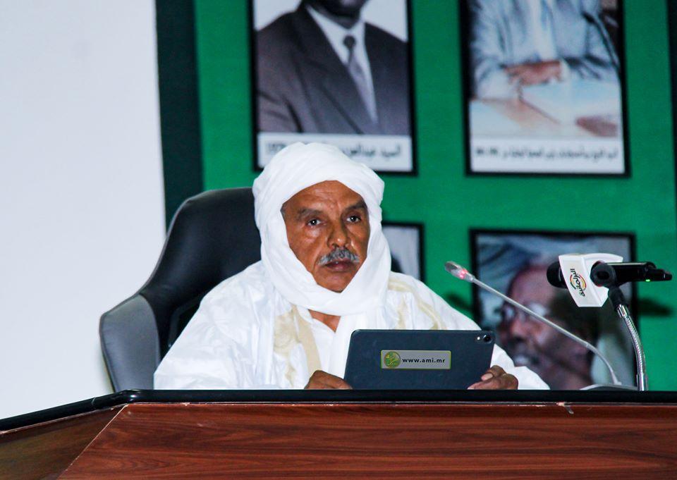 رئيس البرلمان الموريتاني الشيخ ولد بايه خلال افتتاح الدورة البرلمانية اليوم (وما)