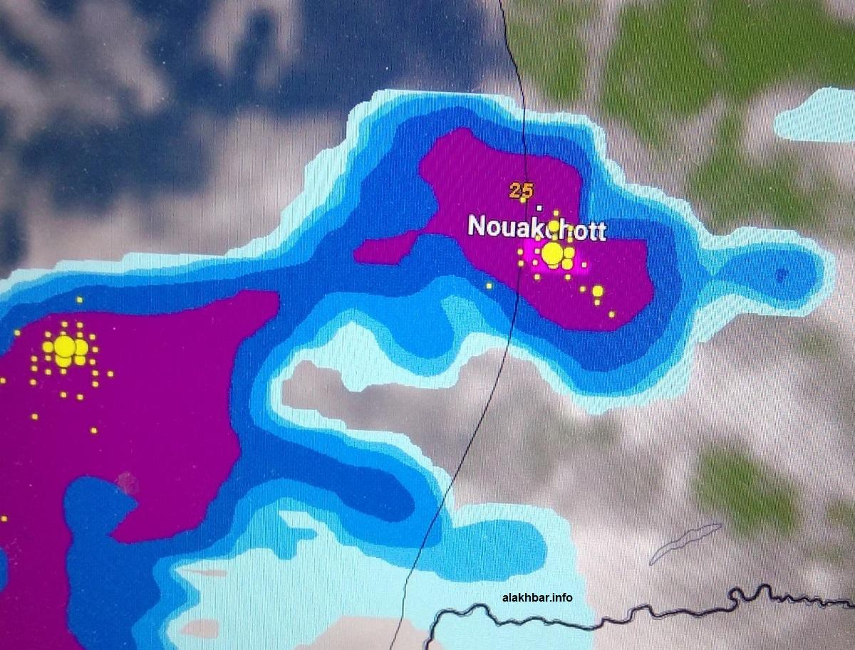 خارطة توقعات الأمطار على العاصمة نواكشوط صباح غد الأحد