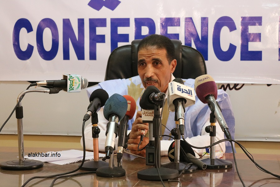 رئيس حزب اتحاد قوى التقدم محمد ولد مولود خلال مؤتمر صحفي سابق (الأخبار - أرشيف)