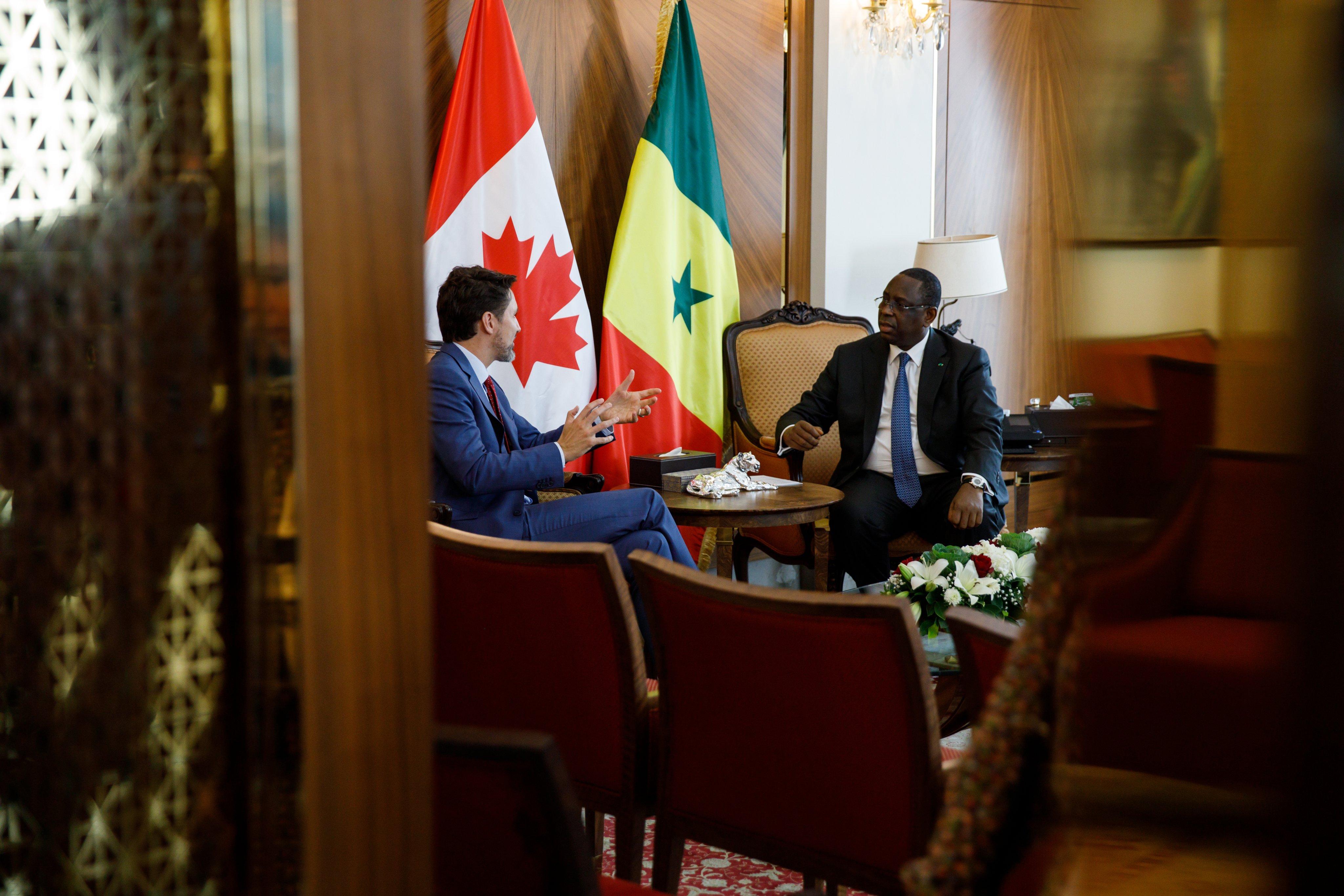 الرئيس السنغالي ماكي صال ورئيس الوزراء الكندي جستن توردو