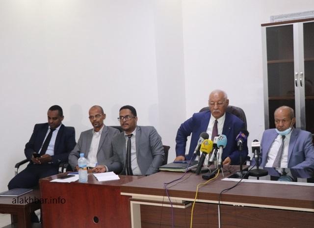 هيئة دفاع الرئيس السابق محمد ولد عبد العزيز خلال مؤتمر صحفي سابق (الأخبار - أرشيف)