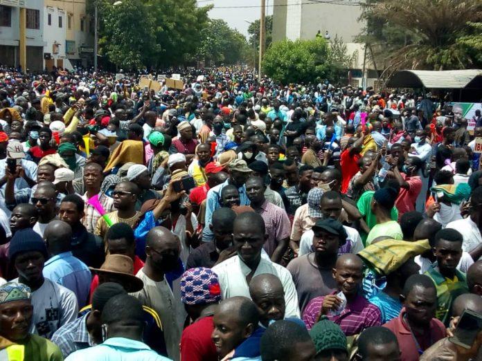 جانب من مظاهرات اليوم 05 يونيو 2020 بالعاصمة باماكو
