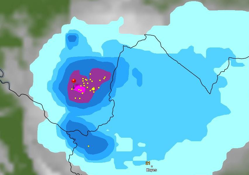 توزع السحب عند الساعة 10:55 من يوم 6 يوليو الجاري، الإشارة عند مدينة سيلبابى