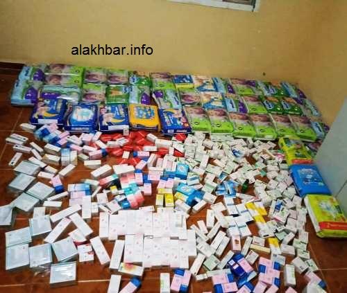جانب من المواد المصادرة من قبل الفرق في مدينة نواذيبو/ الأخبار
