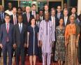 أعضاء مجلس الأمن الدولي بعد لقائهم الرئيس البوركيني روك مارك كريستيان كوري.