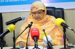 رئيسة جهة نواكشوط فاطمة بنت عبد المالك خلال افتتاح الورشة