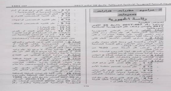 المرسوم المتضمن وصف العلم الجديد في العدد 1401 من الجريدة الرسمية الصادر بتاريخ: 30 - 11 - 2017  (الصورة من صفحة المحامي محمد سيدي عبد الرحمن)