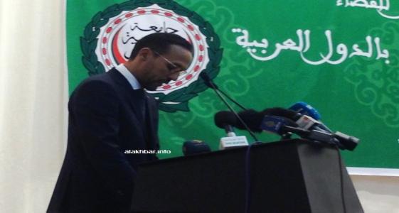 رئيس المحكمة العليا في موريتانيا الحسين ولد الناجي خلال كلمته اليوم في افتتاح المؤتمر الثامن لرؤساءالمحاكم العليا في الوطن العربي (الأخبار)