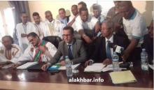 من اليمني والي لبراكنة ووزير المياه ورئيس المجلس الجهوي خلال حفل التنصيب زوال اليوم (الأخبار)