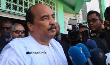 الرئيس السابق محمد ولد عبد العزيز خلال تصريح إعلامي سابق (الأخبار - أرشيف)
