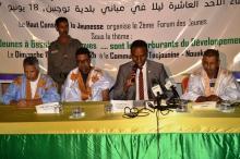 منصة افتتاح المقتى الذي استمرت فعالياتها استمرت عدة ساعات في بلدية توجنين