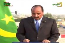 ولد عبد العزيز خلال إلقائه خطاب الاستقلال من كيهيدي ـ (قناة الموريتانية)