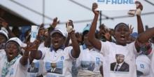 جانب من المسيرة التي خرجت بلومي لمساندة الرئيس.