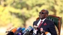 الرئيس الزيمبابوي السابق روبيرت موغابي خلال مؤتمر صحفي 29 يوليو 2018.