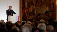 الرئيس الفرنسي إيمانويل ماكرون خلال خطابه أمام سفراء فرنسا عبر العالم.