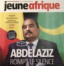 """صورة الرئيس الموريتاني محمد ولد عبد العزيز على غلاف صحيفة """"جون ٱفريك""""."""