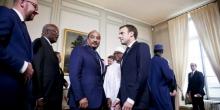 قادة مجموعة دول الساحل خلال اجتماع بباريس في 13 دجمبر 2017.