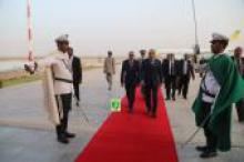 الرئيس الموريتاني لدى عودته لمطار نواكشوط الدولي قادما من الولايات المتحدة الأمريكية.
