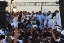 رئيس الحزب الحاكم سيد محمد ولد محم خلال خطابه في المهرجان المنظم أمس السبت