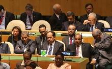 ولد عبد العزيز خلال حضوره الجمعية العامة للأمم المتحدة في العام 2015 (وما)