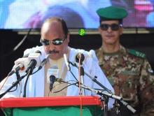 الرئيس الموريتاني محمد ولد عبد العزيز خلال خطاب افتتاح مهرجان المدن القديمة في تيشيت اليوم (وما)
