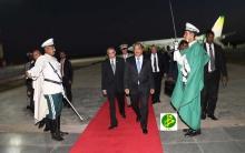 الرئيس الموريتاني محمد ولد عبد العزيز لدى وصوله مطار نواكشوط قادما من أديس أبابا.