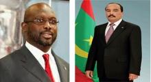 الرئيسان الموريتاني محمد ولد عبد العزيز والليبيري جورج ويا.