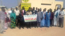 أساتذة التعليم المهني خلال وقفة احتجاجية مع بداية إضرابهم الاثنين الماضي