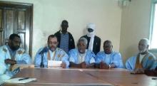 قادة الكونفدراليات العمالية خلال المؤتمر الصحفي أمس الخميس بنواكشوط