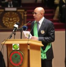 الرئيس الموريتاني محمد ولد الغزواني خلال خطابه بعيد تنصيبه أمس الخميس (وما)