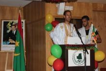 الأمين العام لاتحاد الطلبة والمتدربين الموريتانيين بالمغرب الخليفة ولد اسعيد خلال كلمته في الحفل