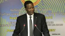 وزير البيئة والتنمية المستدامة آمادي كامرا خلال حديثه في المؤتمر الصحفي مساء الخميس (الأخبار)