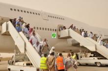 الفوج الأول من الحجاج الموريتانيين في مطار نواكشوط صباح اليوم الأحد (وما)