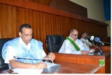 رئيس مجلس الشيوخ الموريتاني محسن ولد الحاج خلال خطاب اختتام الدورة البرلمانية العادية (وما)