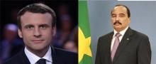 الرئيس الموريتاني محمد ولد عبد العزيز، والرئيس الفرنسي الجديد إيمانويل ماكرون