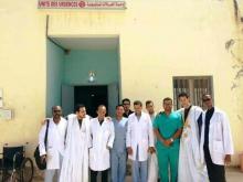 أطباء المركز أمام وحدة الحالات المستعجلة
