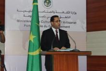 وزير الاقتصاد والمالية المختار ولد اجاي خلال مؤتمر صحفي سابق له (الأخبار - أرشيف)